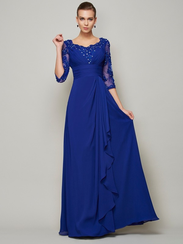 A-line/Princess Chiffon Scoop 3/4 Sleeves Floor-Length Mother of the Bride Dresses