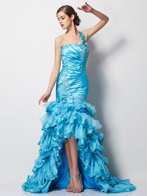 Trumpet/Mermaid One-Shoulder Sleeveless Beading Asymmetrical Taffeta Dresses