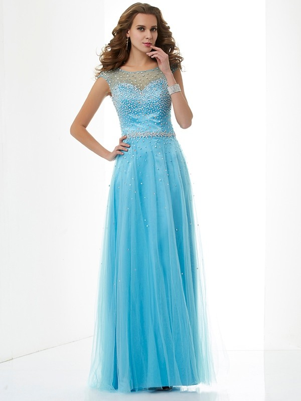 Sheath/Column High Neck Beading Sleeveless Floor-Length Net Dresses