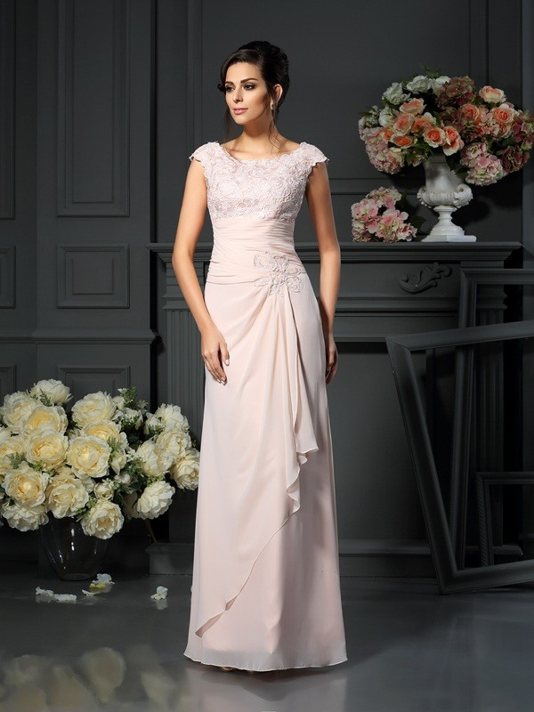A-Line/Princess Scoop Sleeveless Floor-Length Lace Chiffon Mother of the Bride Dresses
