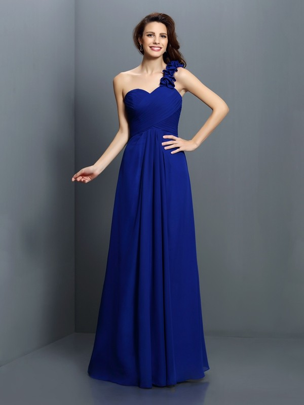 A-Line/Princess One-Shoulder Sleeveless Hand-Made Flower Floor-Length Chiffon Bridesmaid Dresses
