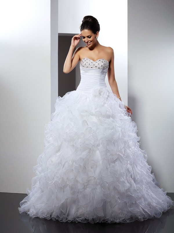 Ball Gown Sweetheart Sleeveless Beading Cathedral Train Organza Wedding Dresses