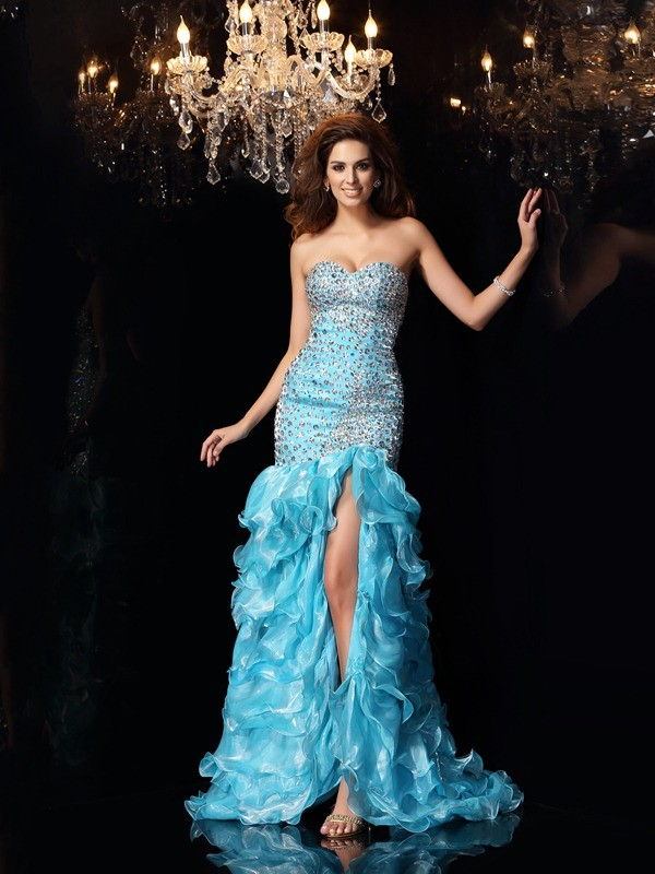 Trumpet/Mermaid Sweetheart Sleeveless Organza Beading Asymmetrical Dresses