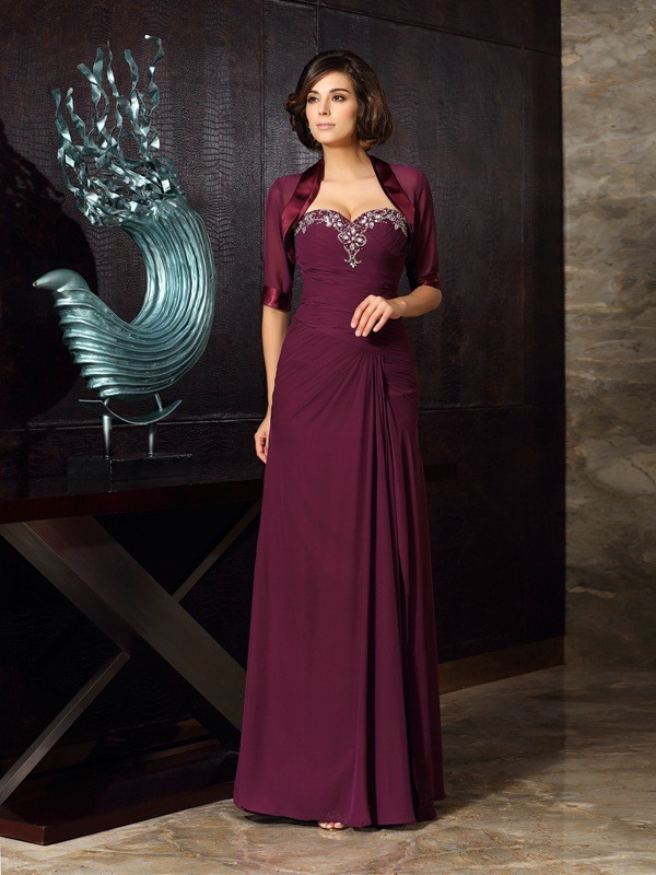Sheath/Column Sweetheart Beading Chiffon Floor-Length Sleeveless Mother of the Bride Dresses
