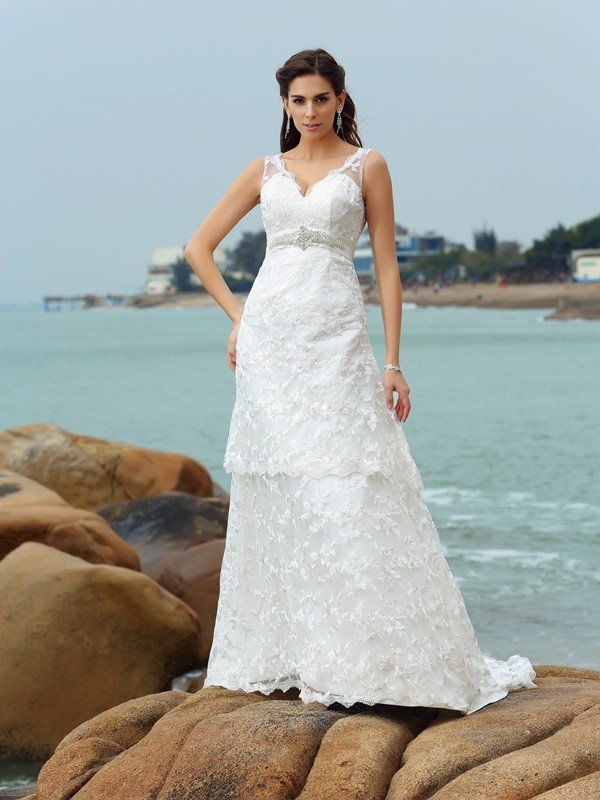 A-Line/Princess Sleeveless Straps Satin Chapel Train Applique Wedding Dresses