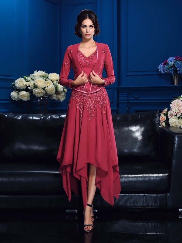 A-Line/Princess V-neck Sleeveless Applique Asymmetrical Chiffon Mother Of The Bride Dresses