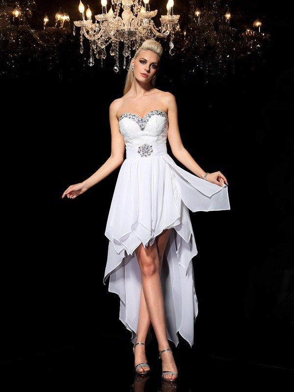 A-Line/Princess Sweetheart Sleeveless Asymmetrical Beading Chiffon Cocktail Dresses