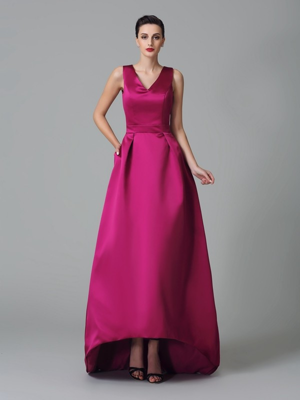A-Line/Princess Straps Sleeveless Ruched Asymmetrical Satin Bridesmaid Dresses
