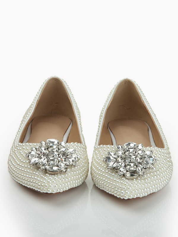 Women's Patent Leather Closed Toe Flat Heel With Pearl Rhinestone Shoes