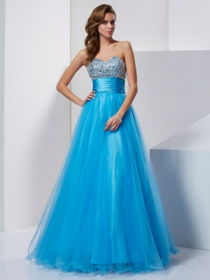 A-Line/Princess Strapless Sweetheart Crystal Floor-Length Tulle Dresses