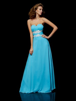 A-Line/Princess Sleeveless Sweetheart Applique Chiffon Floor-Length Dresses