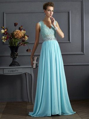 A-Line/Princess Sleeveless Straps Lace Floor-Length Chiffon Dresses