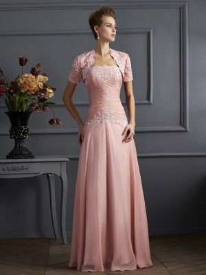 Sheath/Column Sleeveless Strapless Chiffon Mother of the Bride Dresses