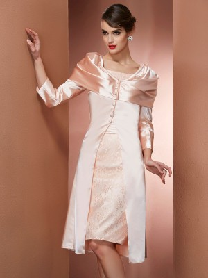 Sheath/Column Square Sleeveless Knee-Length Elastic Woven Satin Dresses