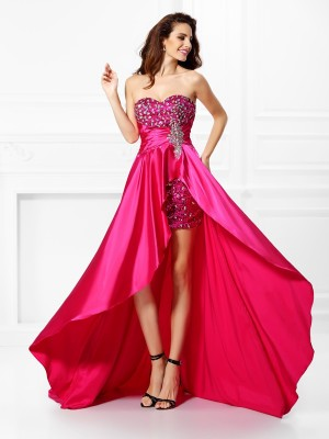 A-Line/Princess Sweetheart Sleeveless Beading Paillette Asymmetrical Elastic Woven Satin Dresses
