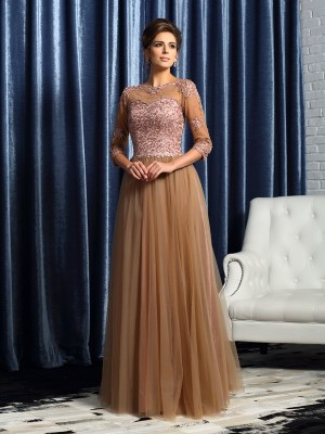 A-Line/Princess 3/4 Sleeves Scoop Floor-Length Elastic Woven Satin Mother of the Bride Dresses