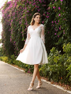 A-Line/Princess V-neck Chiffon 3/4 Sleeves Knee-length Lace Wedding Dresses