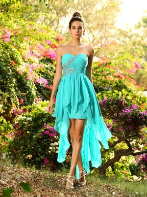 A-Line/Princess Sweetheart Sleeveless Chiffon Asymmetrical Beading Dresses