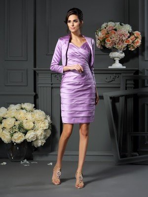 Sheath/Column Sleeveless Straps Satin Ruched Knee-length Mother of the Bride Dresses