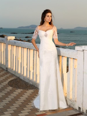 Sheath/Column Sweetheart Floor-Length Short Sleeves Applique Satin Wedding Dresses