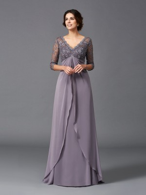 A-Line/Princess V-neck 3/4 Sleeves Lace Floor-Length Chiffon Mother of the Bride Dresses