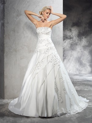 Ball Gown Strapless Beading Sleeveless Court Train Satin Wedding Dresses