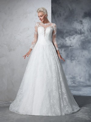 Ball Gown Long Sleeves Jewel Lace Court Train Wedding Dresses