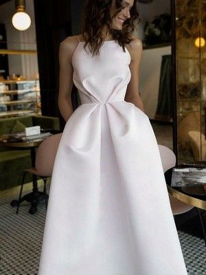 A-Line Sleeveless Halter Tea-Length Ruffles Satin Dresses