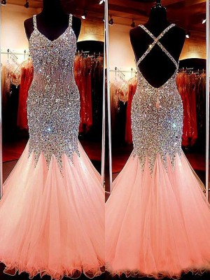 Mermaid Sleeveless V-neck Tulle Sequin Floor-Length Dresses