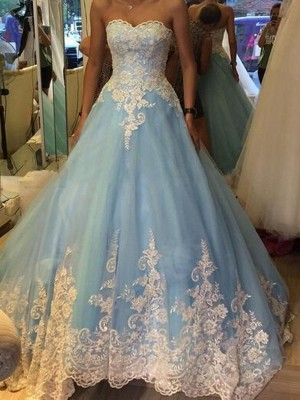 Ball Gown Sweetheart Applique Sleeveless Tulle Sweep/Pinsel zug Dresses