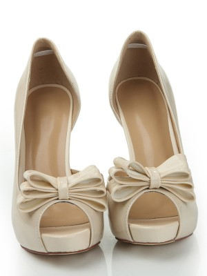 Women's Patent Leather Peep Toe Platform Stiletto Heel With Bowknot Shoes