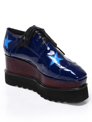 Women's Patent Leather Platform Closed Toe Wedge Heel With Lace-up Fashion Sneakers
