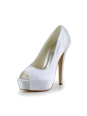 Women's Satin Stiletto Heel Peep Toe Platform Wedding Shoes With Rhinestone