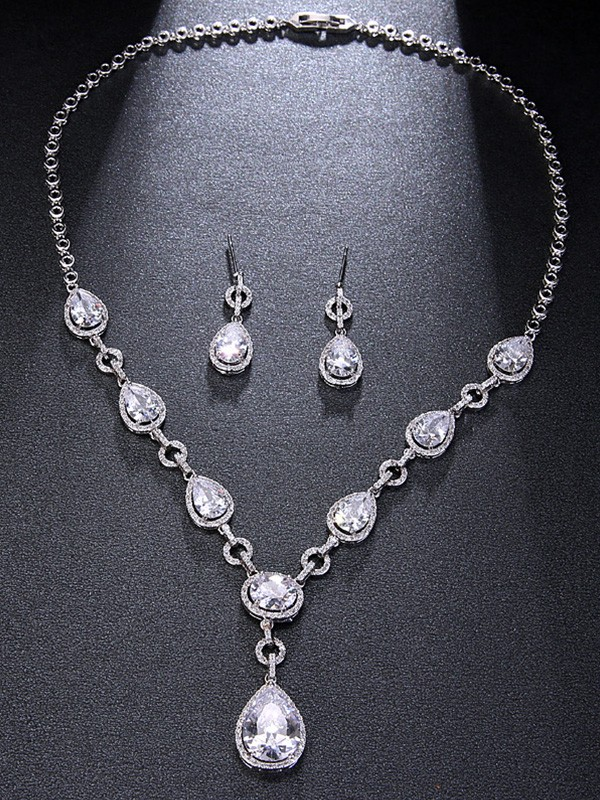 Alloy Rhinestone With Water Drop Unique Jewelry Set