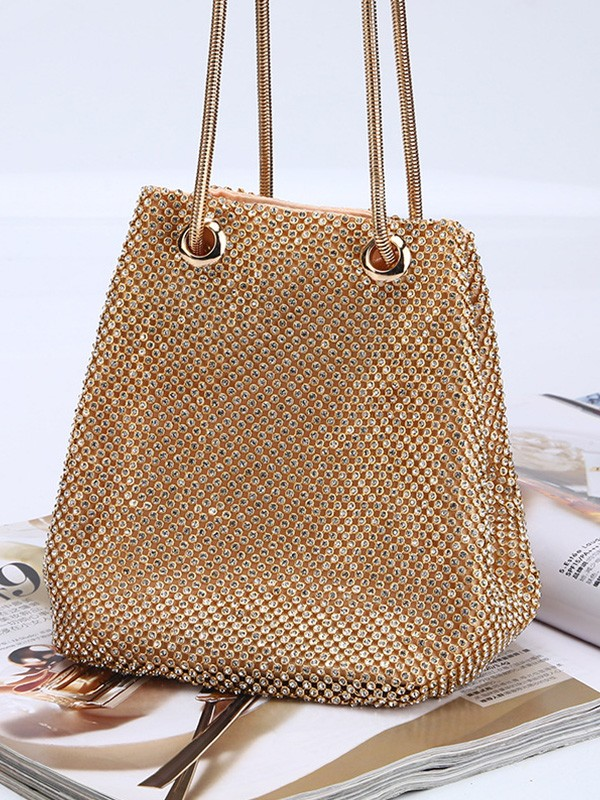 Hot Sale Drilling Evening/Party Gold Crystal Handbags