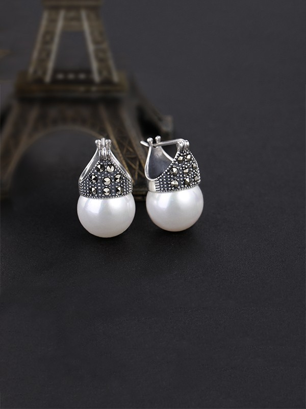 Ladies's Classic S925 Silver With Pearl Earrings