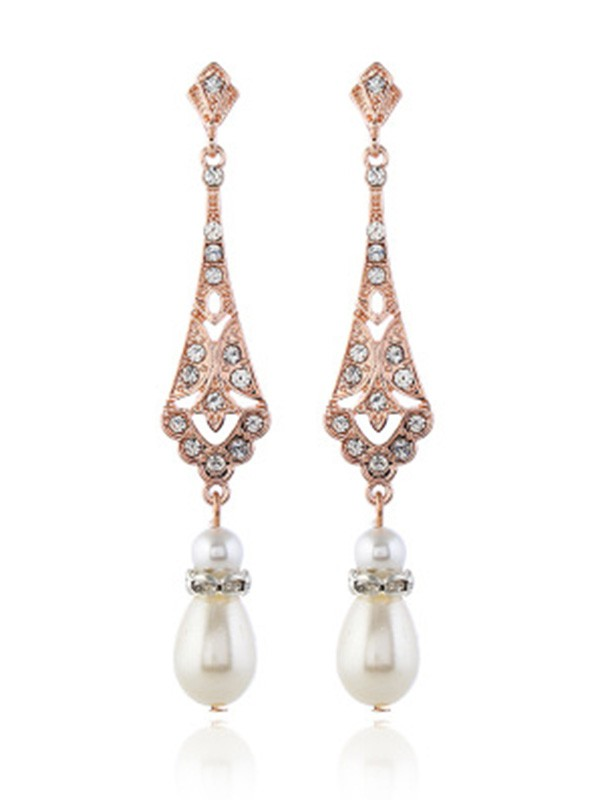 Pretty Alloy With Pearl Ladies Earrings