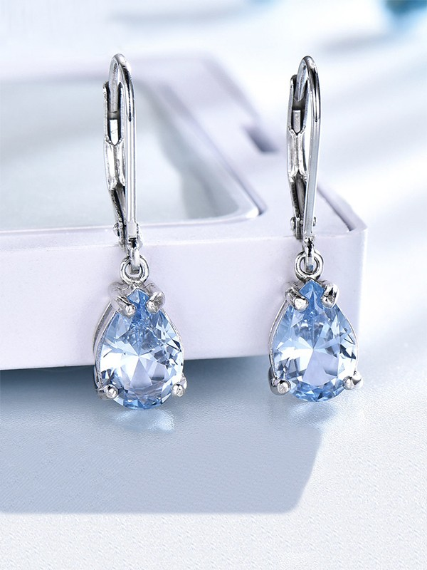 Charming Gemstone With S925 Silver Women's Earrings