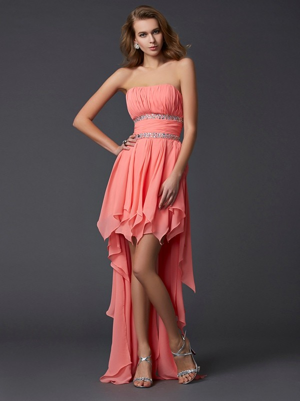 Empire Strapless Sleeveless Ruffles High Low Chiffon Dresses