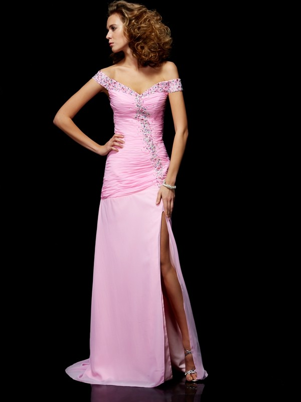 A-Line/Princess Off the Shoulder Sleeveless Beading Long Chiffon Dresses