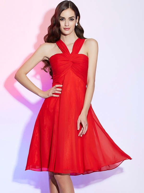 A-Line/Princess Halter Sleeveless Pleats Short Chiffon Bridesmaid Dresses