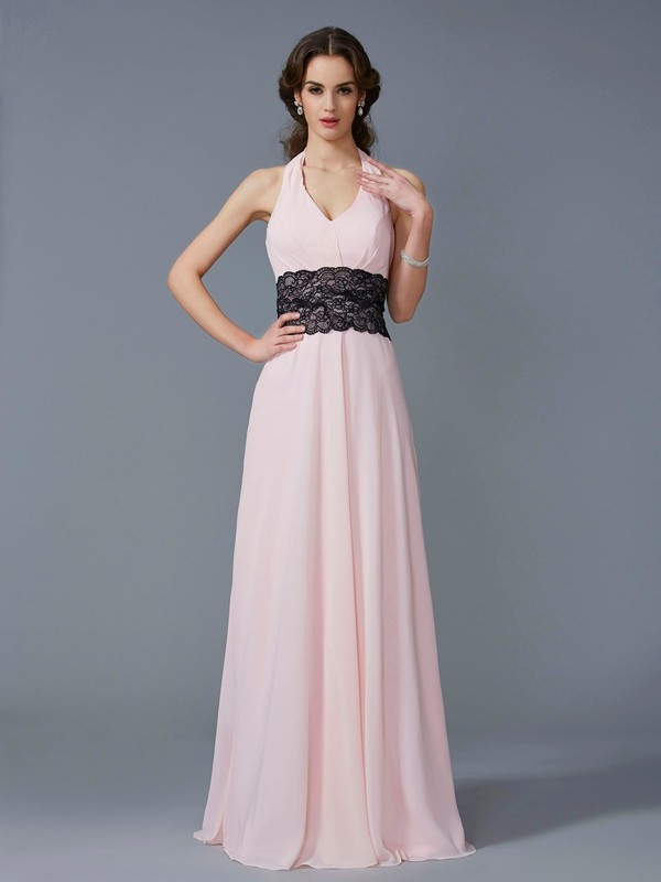 A-Line/Princess Halter Sleeveless Applique Long Chiffon Dresses
