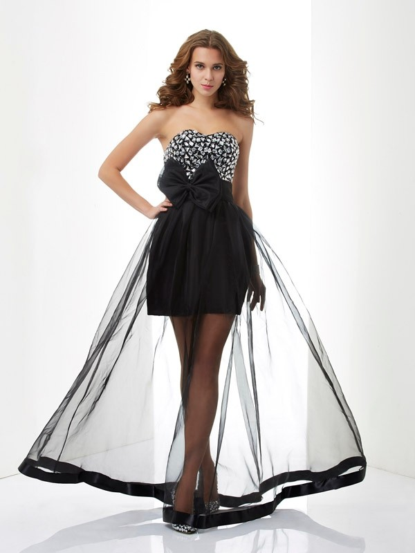 A-Line/Princess Sweetheart Sleeveless Beading Long Organza Dresses