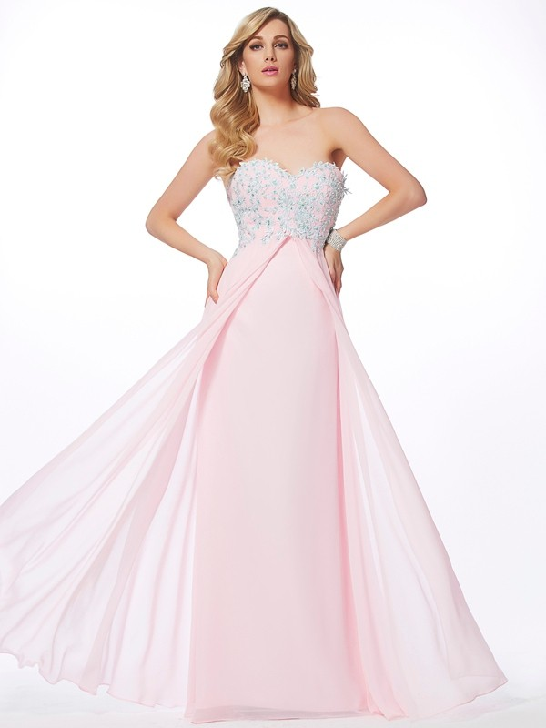 Sheath/Column Sweetheart Sleeveless Applique Beading Long Chiffon Dresses
