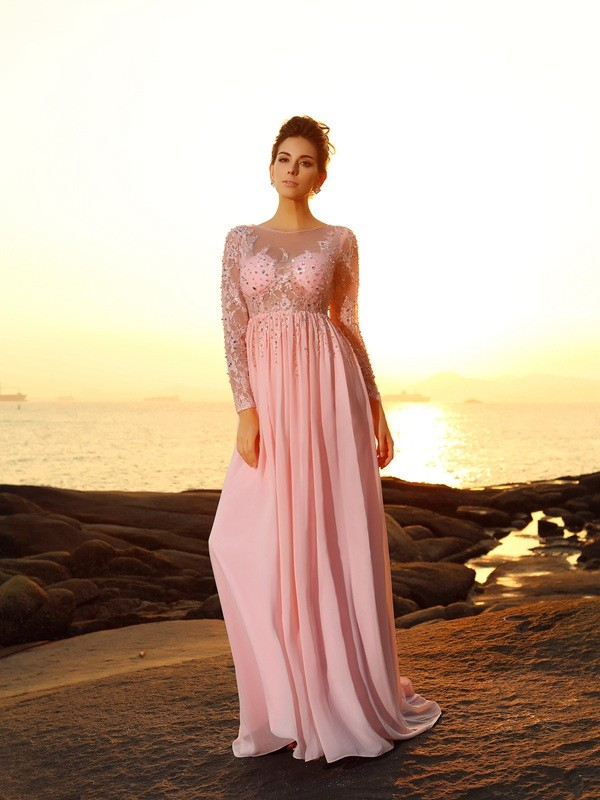 A-Line/Princess Bateau Beading Long Sleeves Long Chiffon Dresses