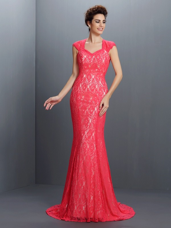 Trumpet/Mermaid V-neck Lace Sleeveless Long Lace Dresses