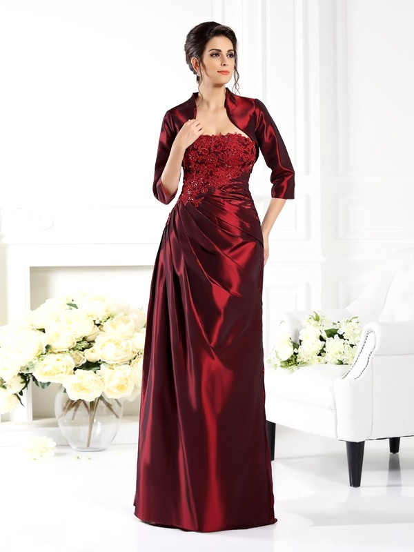 A-Line/Princess Strapless Applique 1/2 Sleeves Long Taffeta Mother of the Bride Dresses