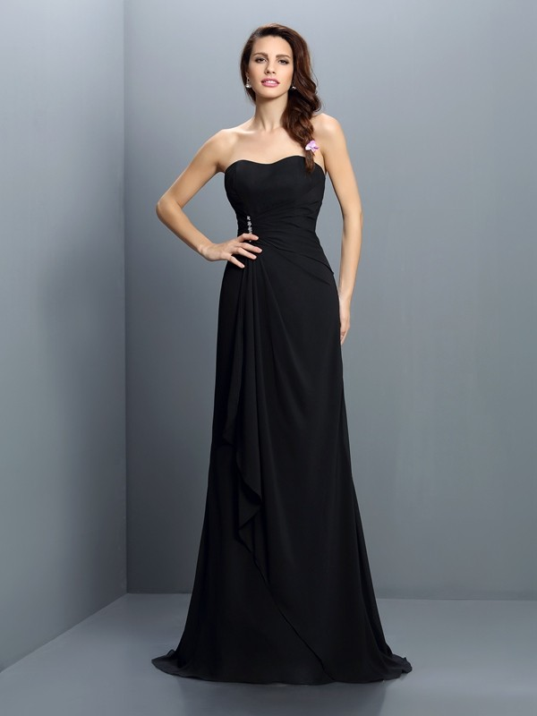 Trumpet/Mermaid Strapless Pleats Sleeveless Long Chiffon Bridesmaid Dresses