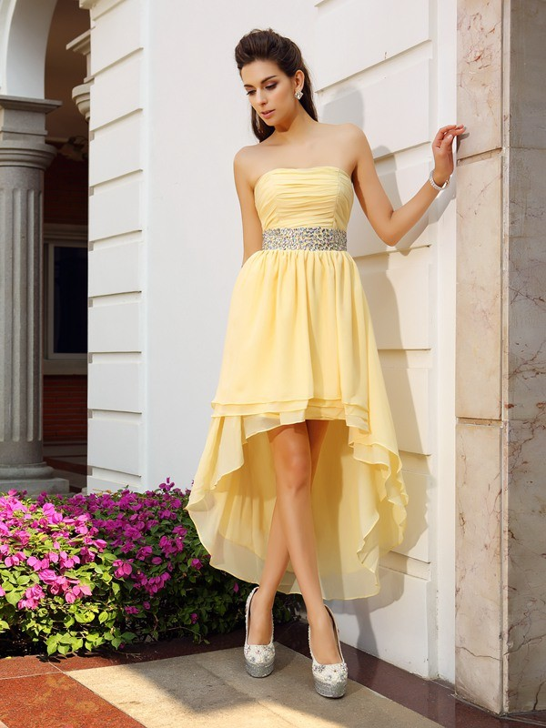 A-Line/Princess Strapless Beading Sleeveless High Low Chiffon Cocktail Dresses