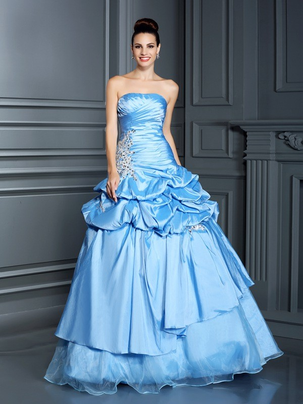 Ball Gown Sweetheart Ruffles Sleeveless Long Organza Quinceanera Dresses